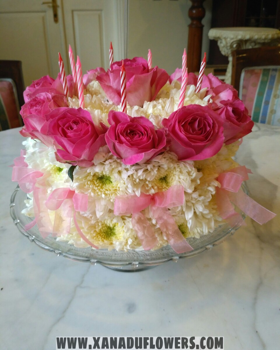Enjoyable Birthday Cake Made Of Roses And Chrysanthemums Xanadu Flowers Funny Birthday Cards Online Alyptdamsfinfo