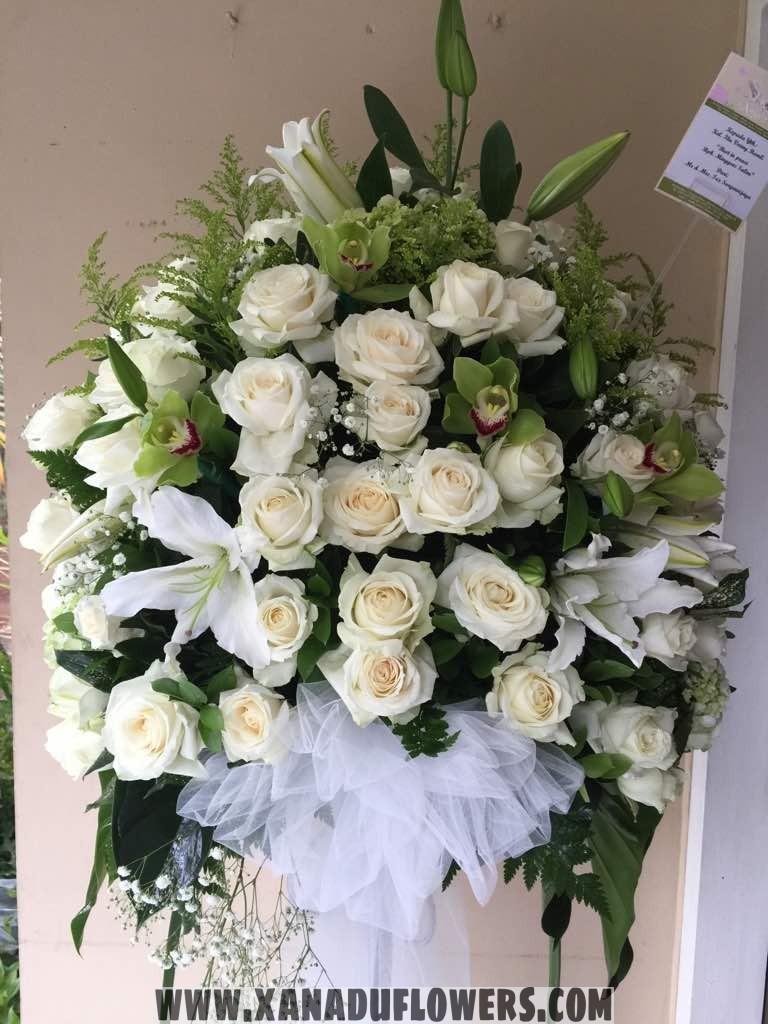 Standing flower arrangement all white roses and lilies xanadu flowers standing flower arrangement all white roses and lilies mightylinksfo